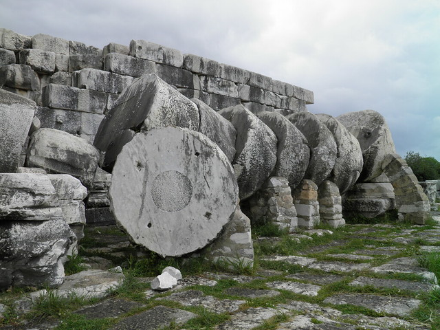 Columns fallen in earthquake on the west facade of the temple, Apollo Temple, Didyma