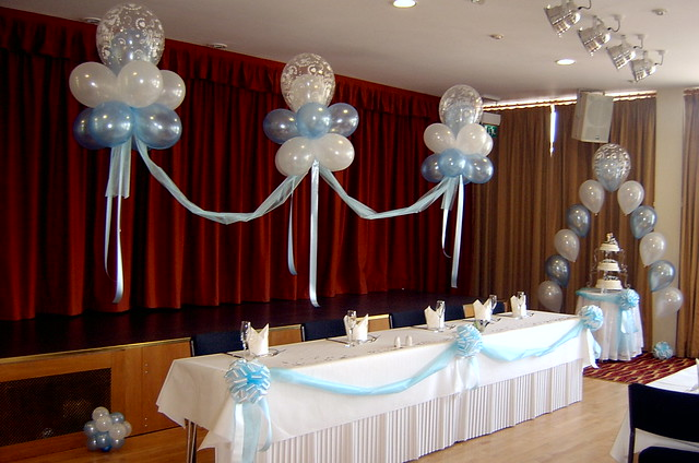 Cake Table Decorations With Balloons : Balloon decorations for the top table and cake table held ...