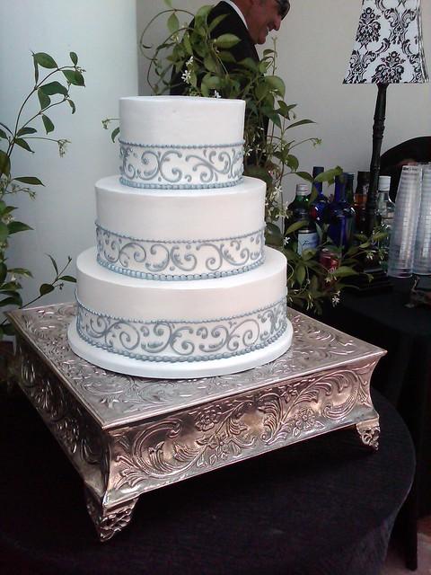 Grey Piped Ribbon Wedding Cake 597