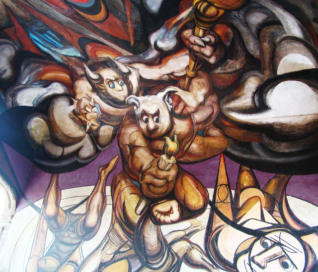siqueiros mural in stairwell of secretary of public. Black Bedroom Furniture Sets. Home Design Ideas