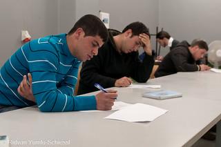 During examination (written exams)