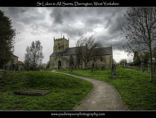 trees storm church grass rain clouds path religion headstones churchtower graves walkway gravestones tombs hdr westyorkshire stormyweather churchclock stormyday april2011 spring2011 paulsimpsonphotography