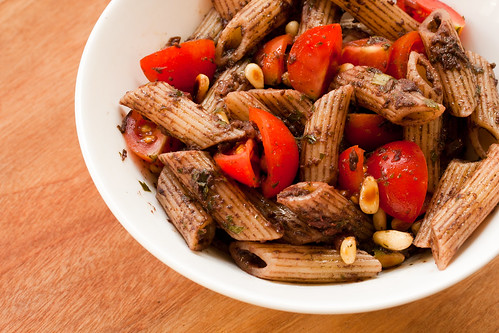 Olive Tapenade Pasta with Cherry Tomatoes