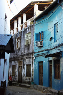 Walking along curvy streets of Stone Town