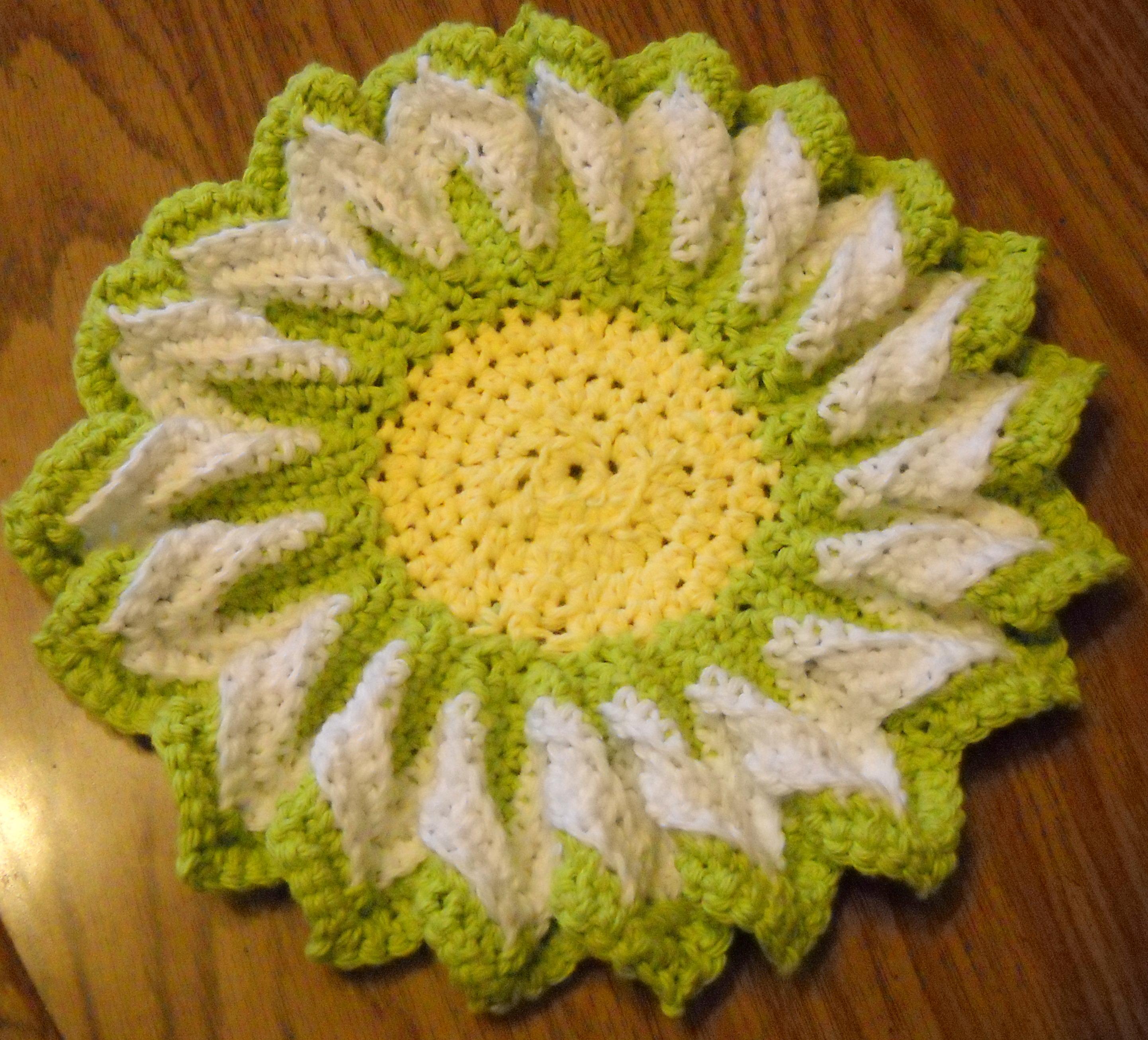 Green Blossom Dishcloth