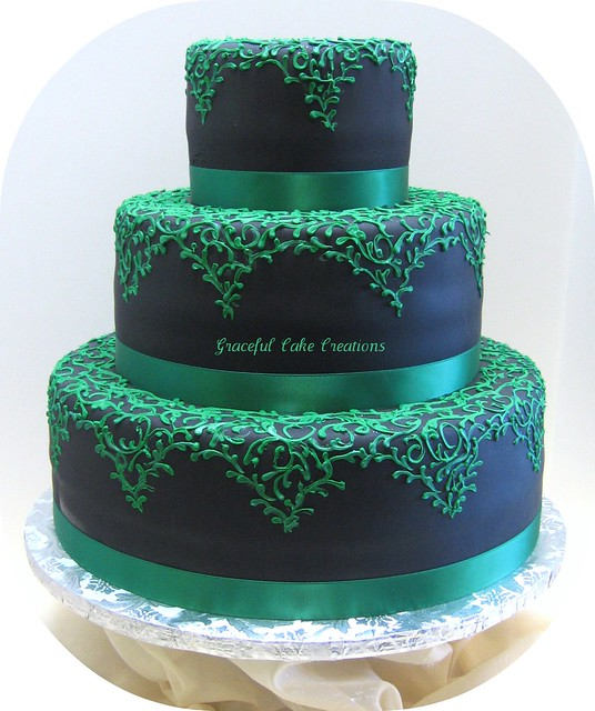 Black Fondant Wedding Cake with Emerald Green Lace Design