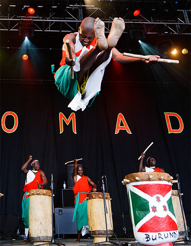 park portrait man jump concert action gig drummer drummers womad 2010 charlton the burundi malmesbury kennymathieson of