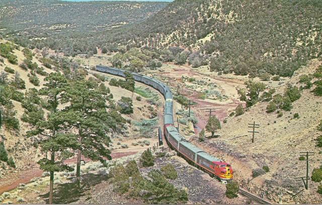 ATSF0009 The Hi-Level El Capitan winds through the Apache Canyon, near Lamy, NM (R. Collins Bradley)