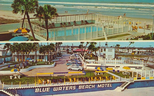 vintage florida postcard daytonabeach poolview beachsign dualview