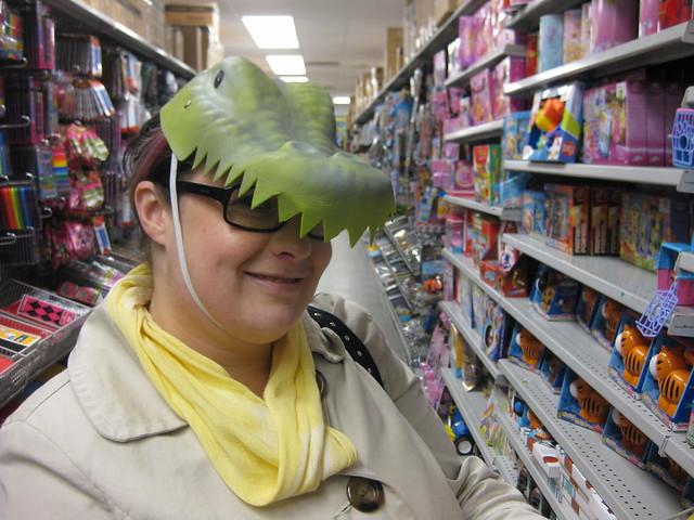 Jess in a dino hat
