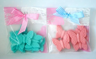 Hand-made chocolate butterflies packaged up