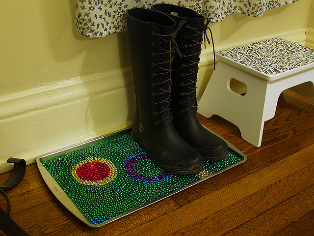 After - Mardi Gras Bead Boot Rest