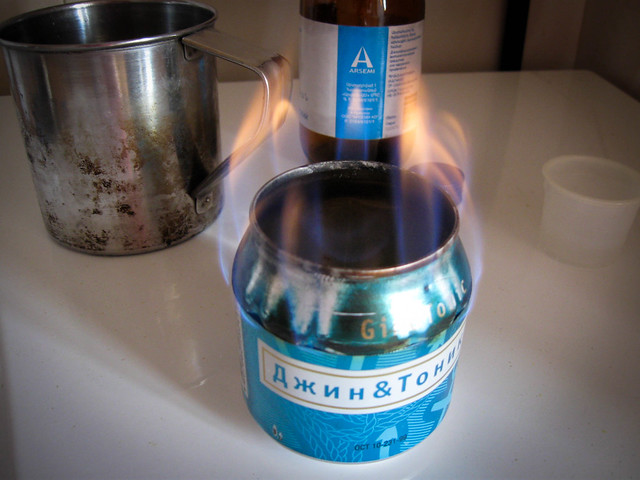 The beer-can stove in action