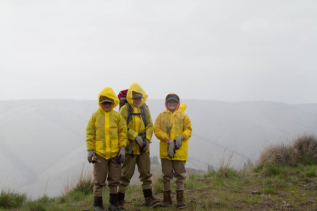 The boys getting ready to hike down Miller Ridge in the rain