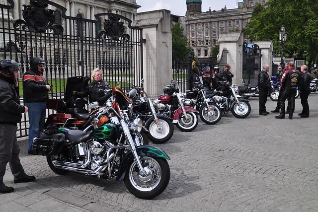 harley davidson motorcycles outside belfast city hall. Black Bedroom Furniture Sets. Home Design Ideas