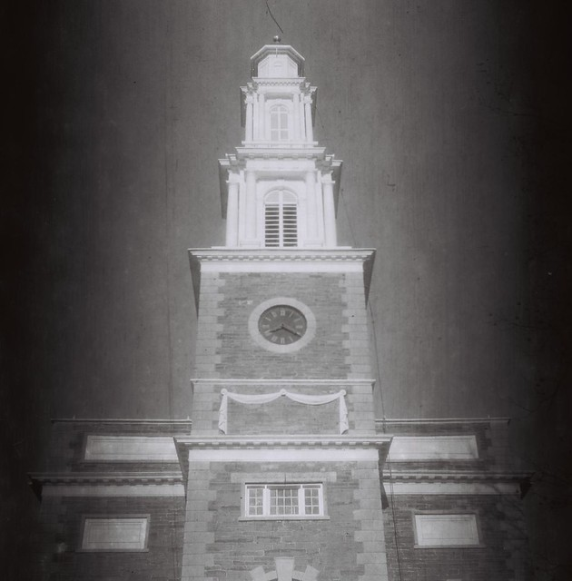 Hamilton College Chapel tower, Clinton, N.Y. - Shot on 60-year-old Kodak 120 B&W stock