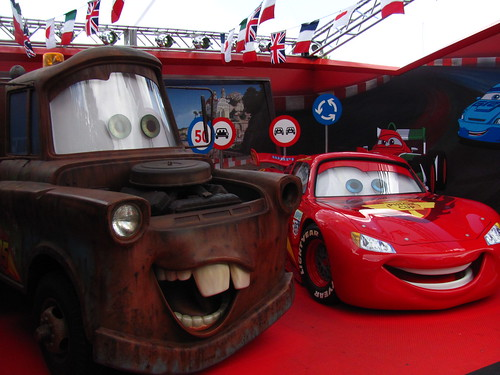 Meeting Mater and Lightning McQueen at the Cars 2 Meet-And-Greet Area