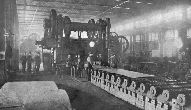 """Industries. Iron & steel. Homestead 1912, U.S. Steel 140"""" plate mill"""