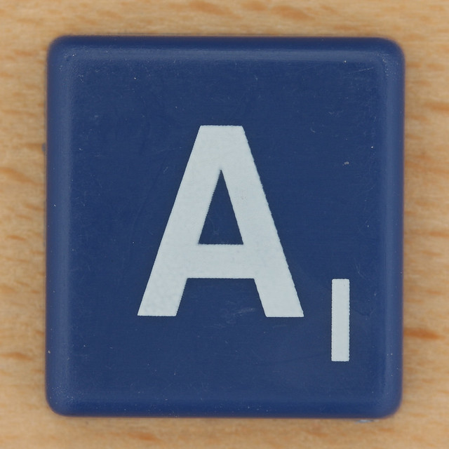 Scrabble White Letter on Blue A