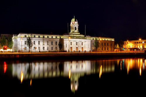 county city ireland water night reflections lights hall cityhall cork eire government law administration legal admin legislation corkcityhall corkhall