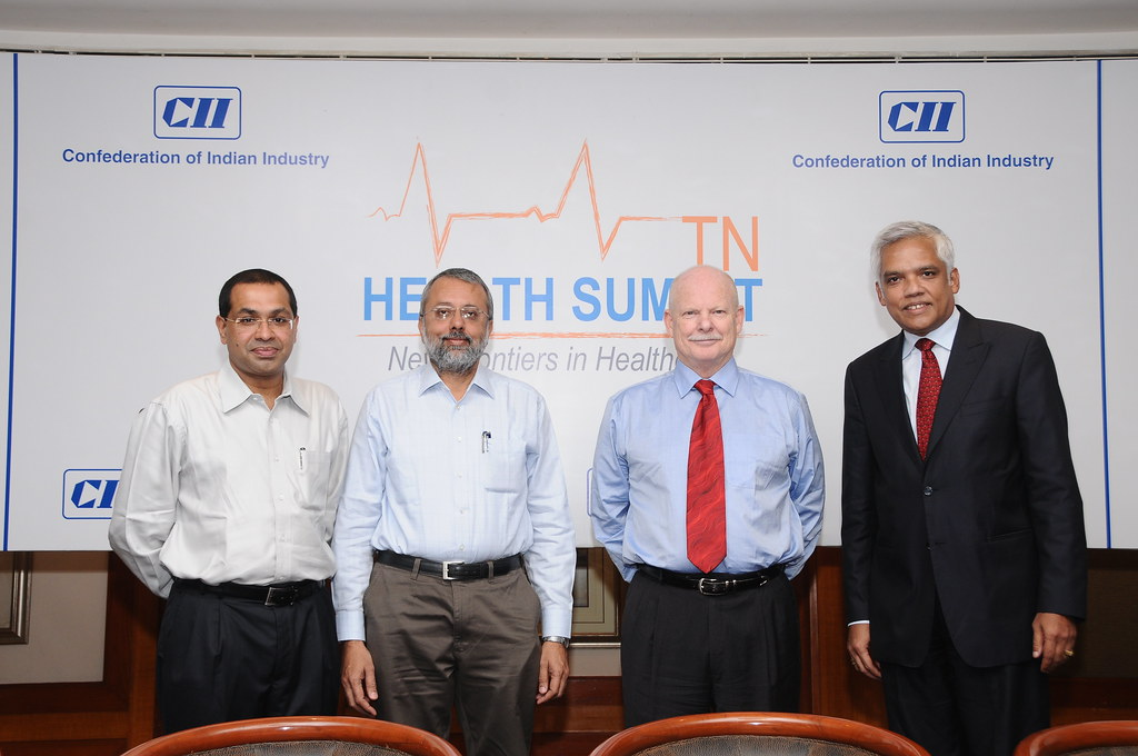 Dr E S Krishnamoorthy, Honorary Secretary Voluntary Health Services and Research Center; Mr N K Ranganath, Chairman CII Tamil Nadu , Dr Ed L Hansen, CEO Global Hospitals & Health City, Mr Raju Venkata