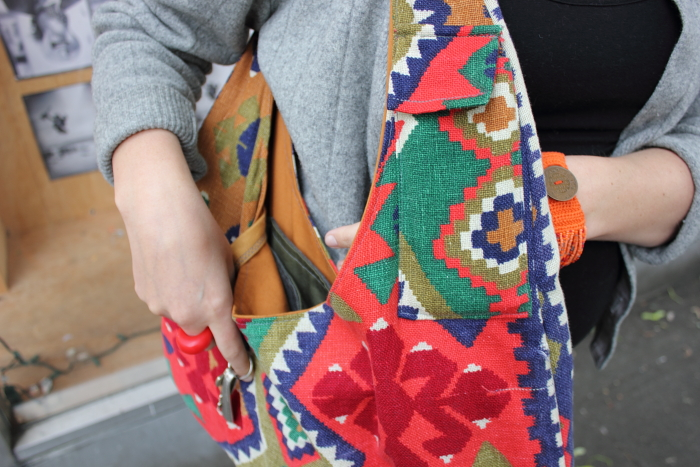 Alicia sewed this bag out of a bed-spread