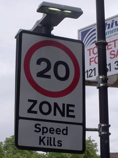 The Green, Kings Norton - 20 Zone - Speed Kills - sign