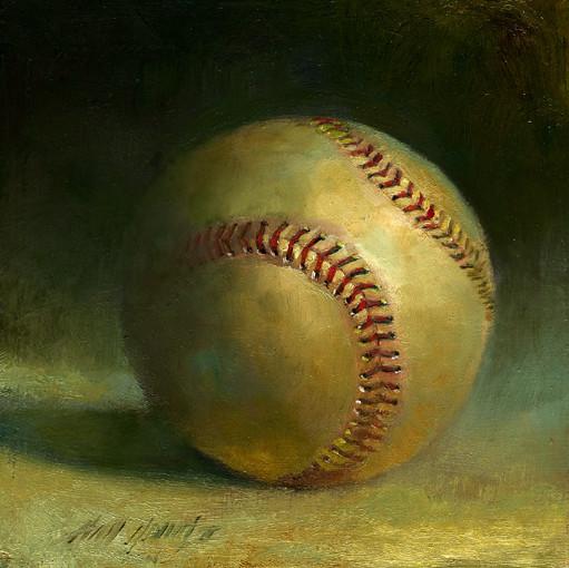 Baseball #5 6x6 in. Oil on panel