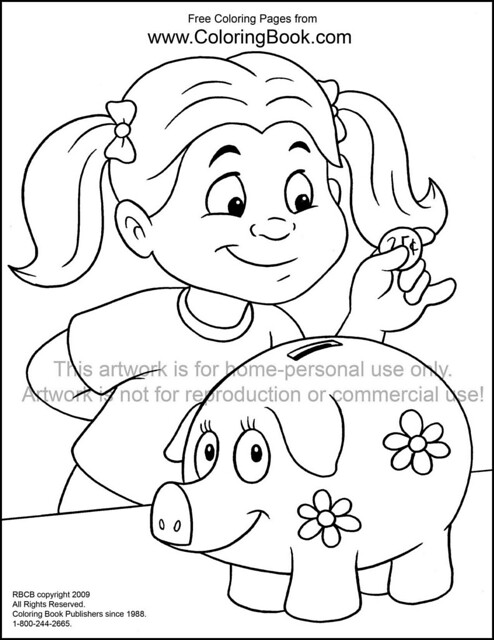 money piggy bank coloring pages sketch coloring page