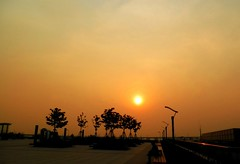 sunset at Hongqiao station