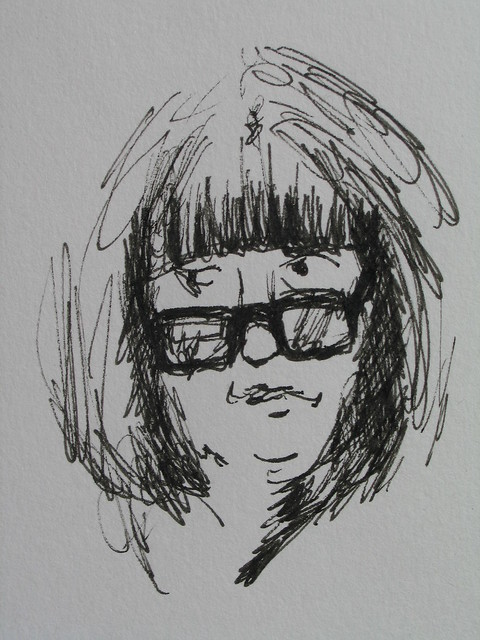 Maureen at Oxford - pen and ink