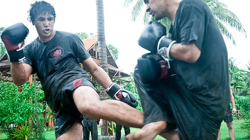 Sparring in the rain and mud - Rick Tew's NinjaGym™ Martial Arts Training and Fitness Camp in Thailand