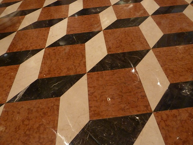 Optical illusion on floor tile and the venetian hotel in l for Floor illusions