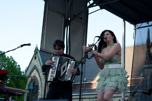 April Smith and Lead Guitarist Playing the Accordian