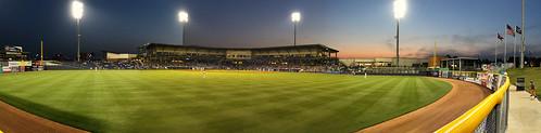 park baseball dusk stadium panoramic outfield mississippibraves pearlmississippi trustmarkpark