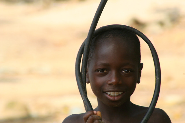 Portrait of a smiling boy in Ghana.