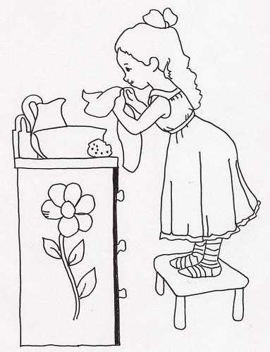 Girl Washing at Washstand