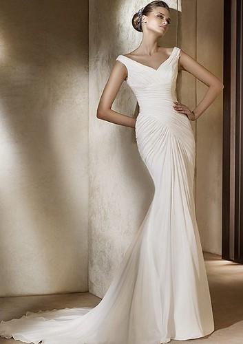 mernaid-wedding-dress-chiffon-V-neck
