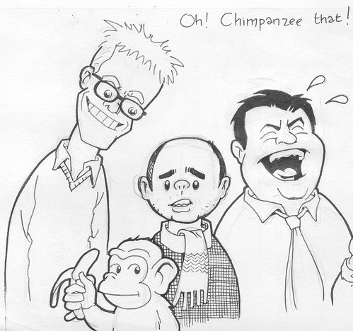 Ricky Gervais with Steve Merchant, Karl Pilkington, and a monkey or chimpanzee