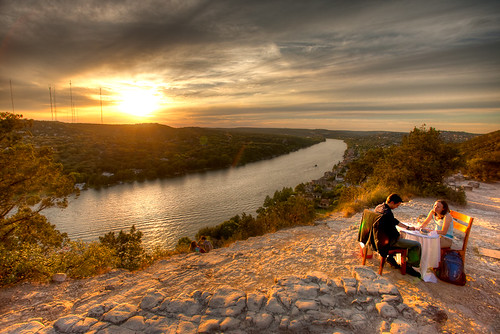 ideal proposal at sunset: Mt. Bonnell