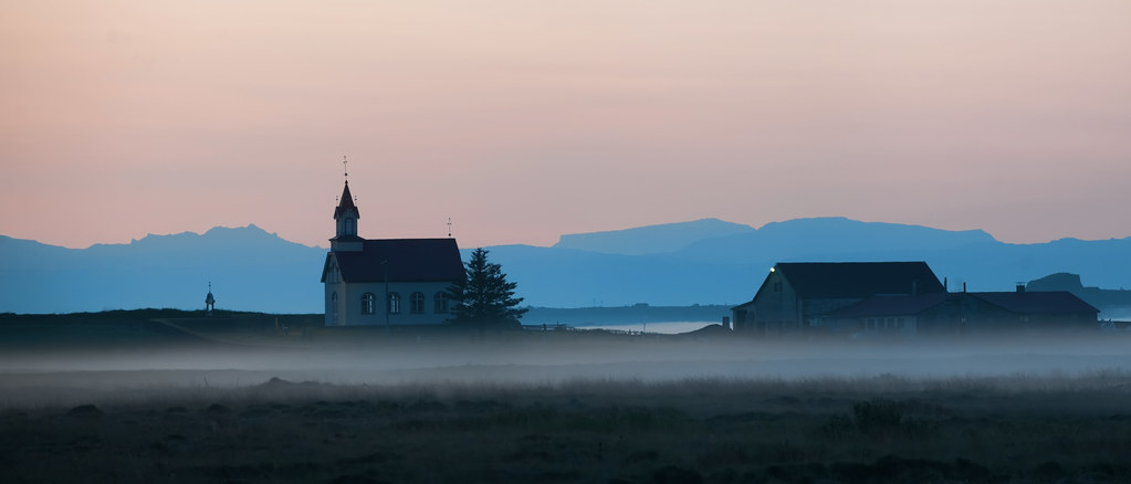 Church in the fog