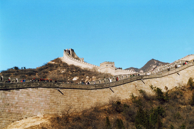 The Great Wall in China on a sunny day.