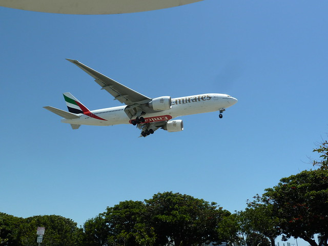 Emirates Airlines A6-EMA Boeing 777-200 (LR) jet on final approach to LAX