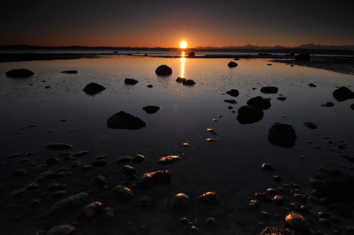 South Beach Sunset with Gold Rocks, Discovery Park, Seattle, Washington