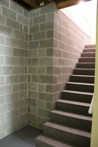 unfinished basement steps