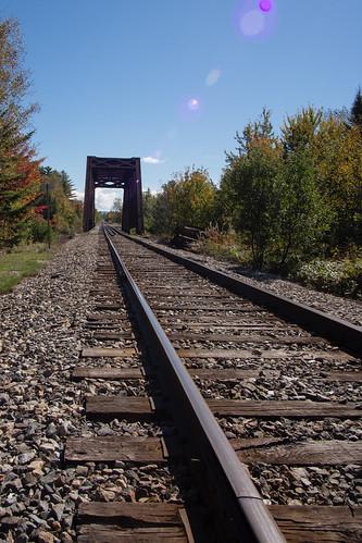 bridge trees sky sun mountain train rocks unitedstates maine tracks em5 714mm northeastsomerset