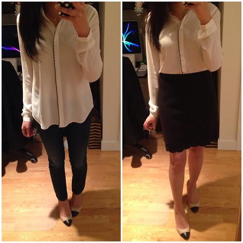 LOFT Scallop trim button down shirt and Scallop hem skirt