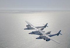 VMS Eve and VSS Enterprise coming into land at SFO, T2. Photo by Mark Greenberg