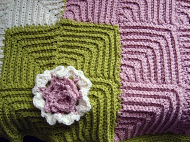 Mitered Squares Baby Blanket (2) Flickr - Photo Sharing!