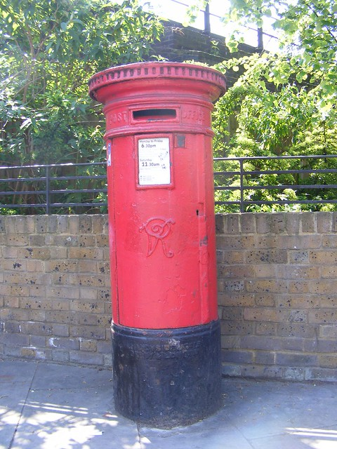 Large vr cylindrical post box london e diameter